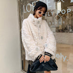 Women's Genuine Wool Suede Coat Real Fur Coat Jacket Shearing - LiveTrendsX