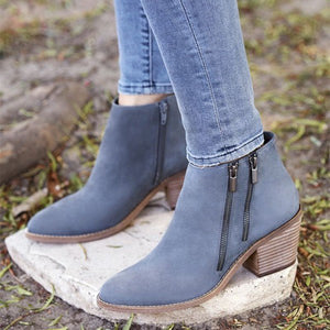 Winter Fashion Pointed Toe Women Hanging out Blue Double Zips Shoes Block Heel Ankle Booties Outdoor Botas Mujer 4-16 - LiveTrendsX