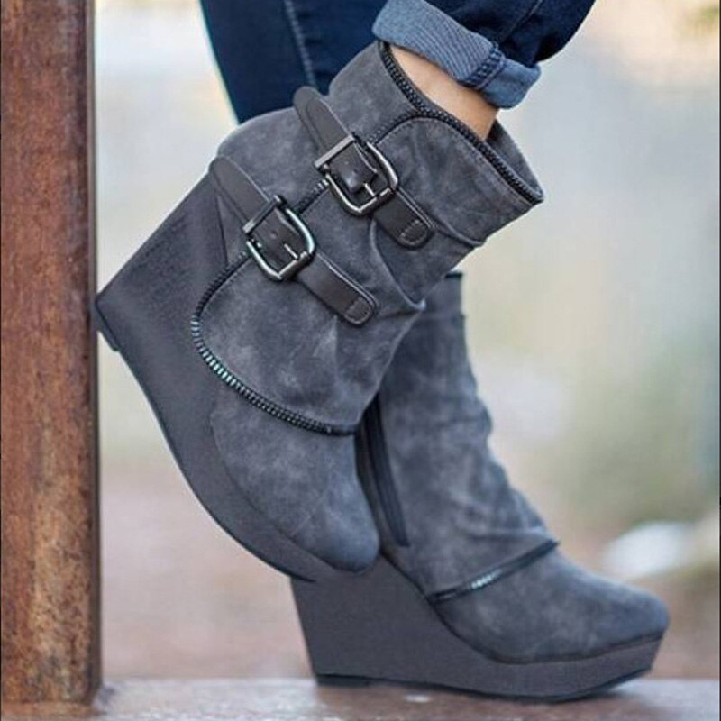 High heels ankle boots for women autumn winter sexy wedges platform short boots buckle strap retro ladies shoes plus size - LiveTrendsX
