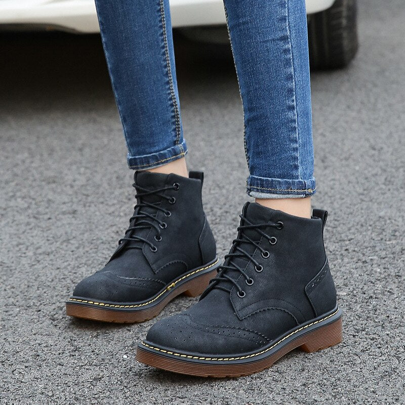 Ankle Round Toe Med  Women  Boots Fashion Solid Punk Motorcycle Boots Retro Casual Lace Up Shoes - LiveTrendsX