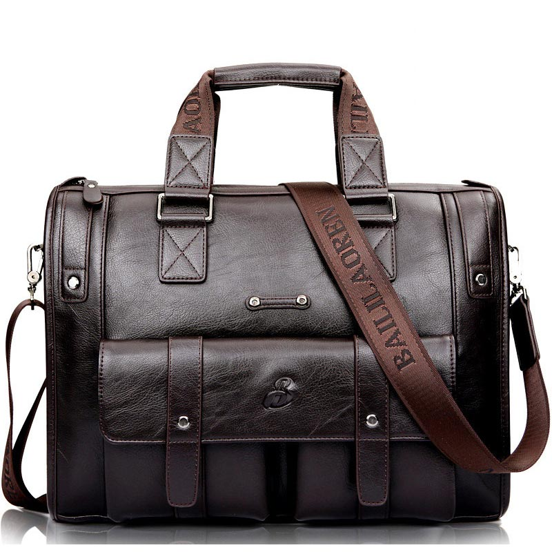 Men Leather Black Briefcase Business Handbag Messenger Bags Male Vintage Shoulder Bag Men's Large Laptop Travel Bags - LiveTrendsX