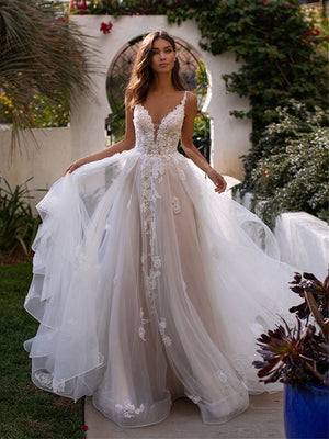 A Line Wedding Dress 3d Flowers Spaghetti Strap Bride Dress