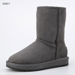 Basic Winter Snow Boots for Women Sheepskin Suede Leather Mid-calf Slip on Shearling Fur Boots Rubber Sole Flats Solid Grey - LiveTrendsX