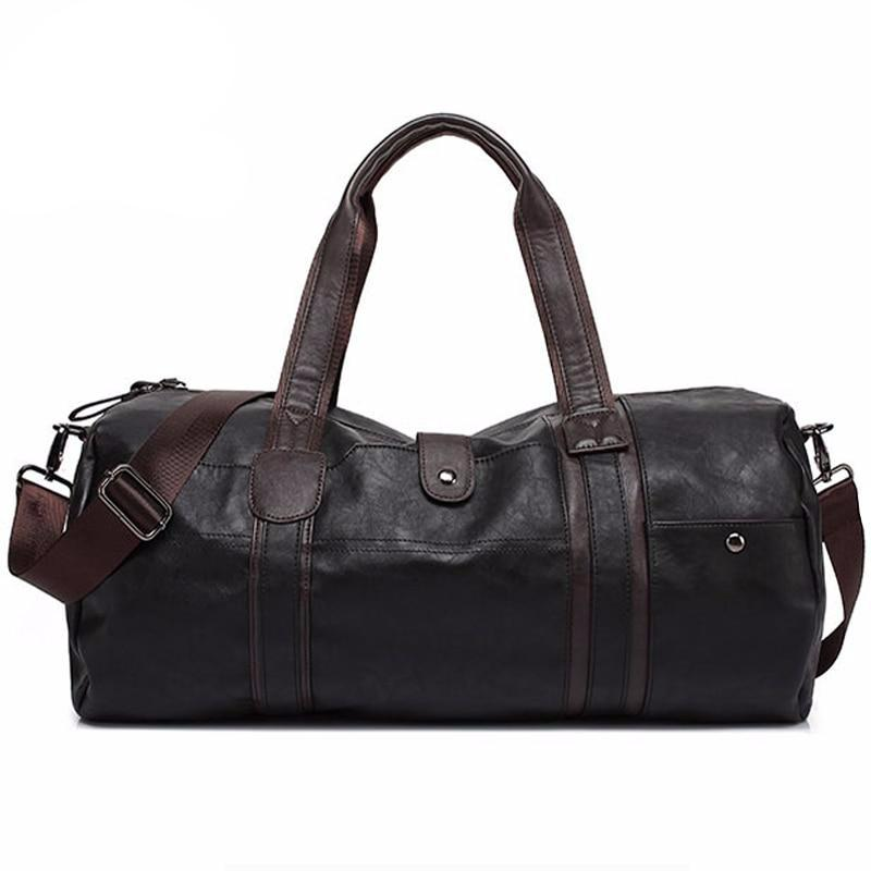 Hot Men's Large Capacity PU Leather Sports Bag Gym Bag Fitness Sport Bags Travel Shoulder Handbag Male Bag Black Brown - LiveTrendsX