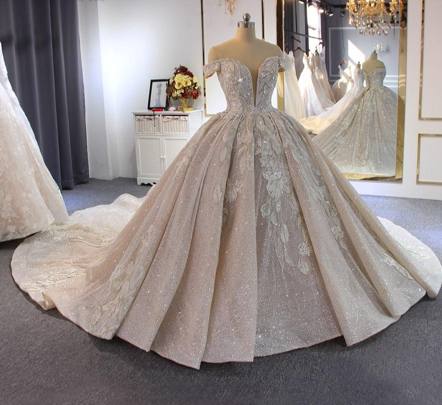 Luxury beading wedding dress Off Shoulder Long Train 2020 New bridal dress novias - LiveTrendsX