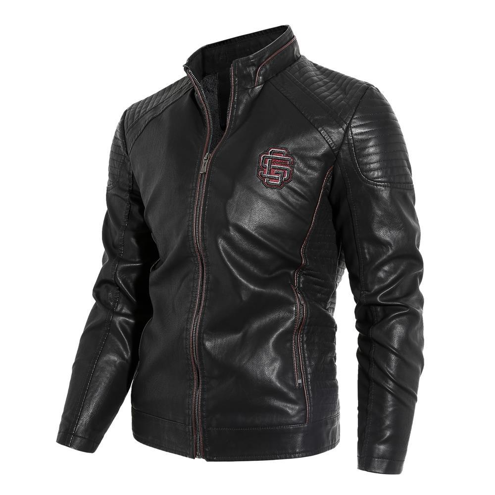 New  Autumn and Winter Models Plus Velvet Men's Leather Collar Collar PU Motorcycle Leather Jacket Jacket - LiveTrendsX