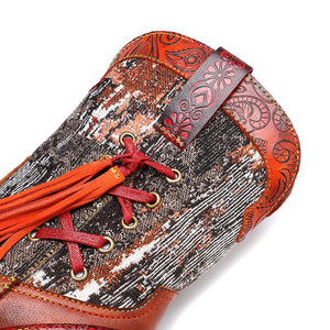 Handmade Colorful cow leather print with women's boots cowboy boots