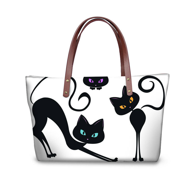Cat Printing Women Handbags High Quality Totes Cross-body Bag for Ladies Large Capacity Shopping Bags Bolsa Feminina - LiveTrendsX