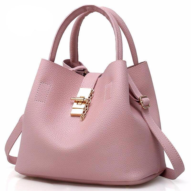 Female Messenger Shoulder Bags Hot Satchel Solid Pu Hasp Leather Tote Bags For Women Hand Bag Brown Casual Bags Bolso Mujer - LiveTrendsX