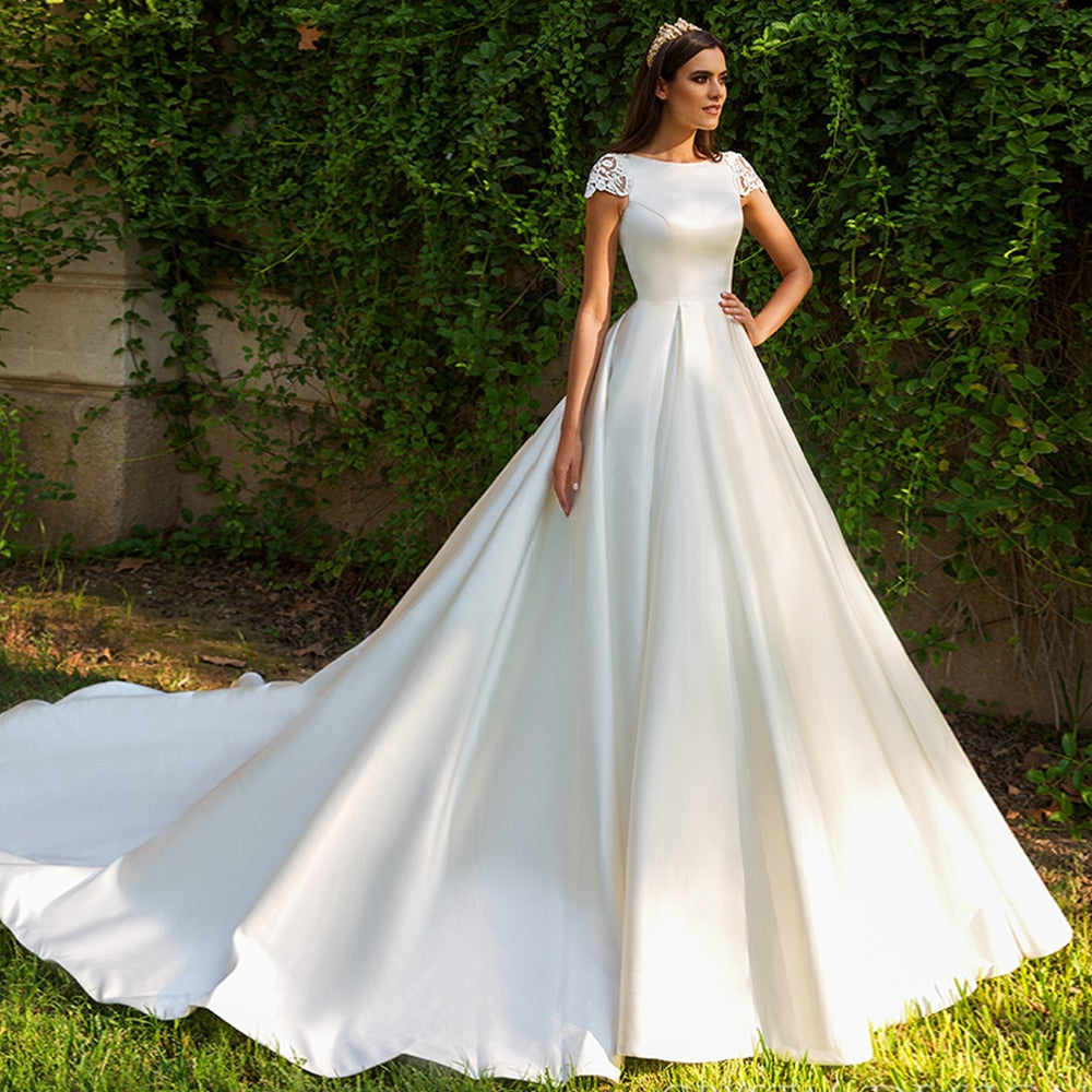 New Listing Short Sleeve Bridal Dresses Beading Appliques Illusion Back France Satin Wedding Gowns Vestidos De Boda - LiveTrendsX