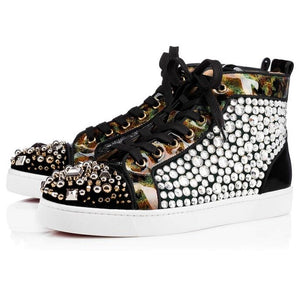 Fashion European Design Rivets Mixed Color Men Sneakers Lace-up Runway High Top Casual Shoes Men - LiveTrendsX