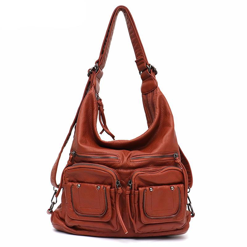 Large Soft Casual Women Bags Functional Girl School Backpack PU Leather Bag Ladies Multi Pockets Messenger&Shoulder Bag - LiveTrendsX