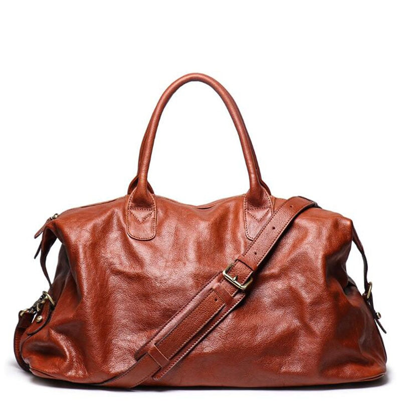 Genuine Leather Travel Handbag Top Quality Business Laptop Duffel Luggage Large Capacity Shoulder Strap Cowhide Leahter GYM Bag - LiveTrendsX