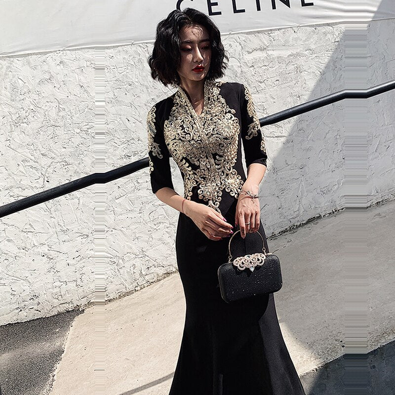 Evening Dress Sexy Deep V-neck Robe De Soiree Embroidery Women Party Dresses Half-Sleeve Elegant Formal Evening Gowns