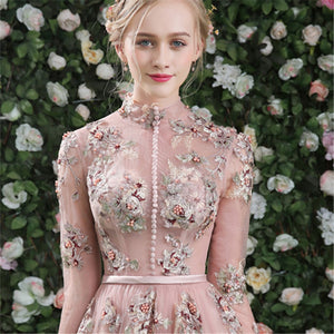Evening Dress Pink Long Sleeves Floral Print Lace Up A-line Floor Length Party Gown Evening Gowns Prom Dresses - LiveTrendsX