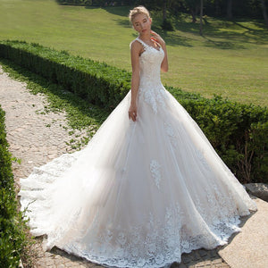 Arabic Wedding Dresses Princess Ball Gown Lace Applique Turkey Bridal Gowns Ribbon Sash Tulle Vestido De Noiva Custom Made - LiveTrendsX
