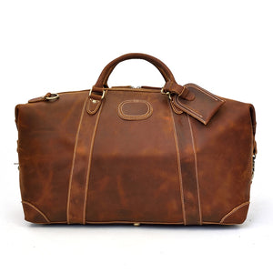 "Vintage Crazy Horse Leather Men Duffel Bags 20"" Big Capacity Genuine Leather Travel Bag Large Luggage Weekend Bags Shoulder Bag - LiveTrendsX"