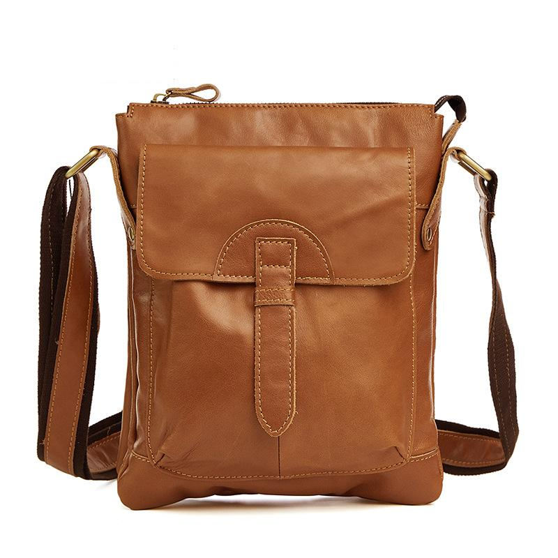 Leather double-deck men's bags Recreational cowhide men's oblique Bag vertical pure color men's single shoulder bag - LiveTrendsX