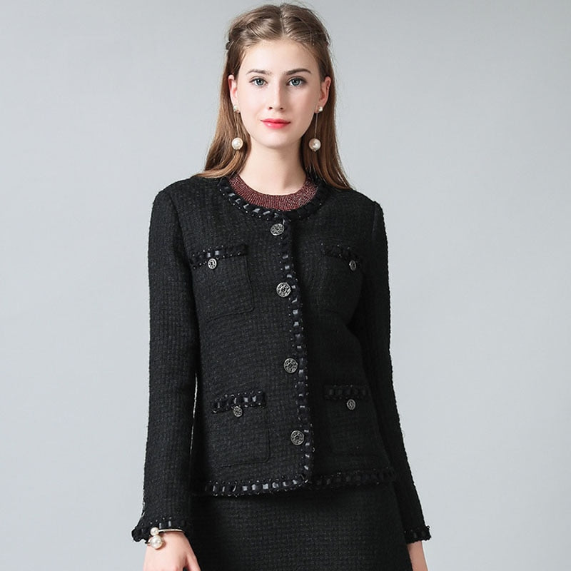 Fashion Elegant Ladies Runway Luxury Black Tweed Jacket Round Neck Long Sleeved Multi Pockets Cuffs With Buttons Casacos - LiveTrendsX