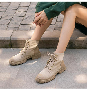 Desert Boots Women Genuine Cow Suede Leather Ankle Boots Round Toe Cross-Tied Autumn Winter Lady Shoe Handmade