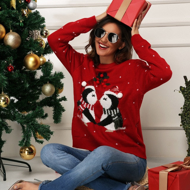 Plus Size xl Jumper Penguin Sweaters Santa Claus Xmas Patterned Ugly Christmas Sweaters Tops For Men Women Pullovers