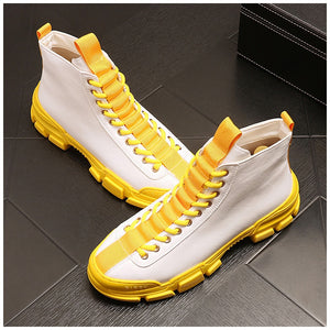 Hip hops Men 2019 Breathable Sneakers Vulcanize Boots Male yellow black Mesh Wear-resistant Casual boots Tenis Masculino - LiveTrendsX