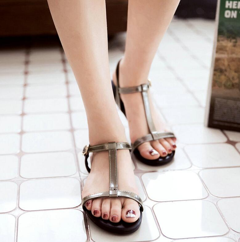 Women Sandals Pu Leather All Match Fashion Women Shoes Buckle Westrn Style Flats Summer Women Sandals