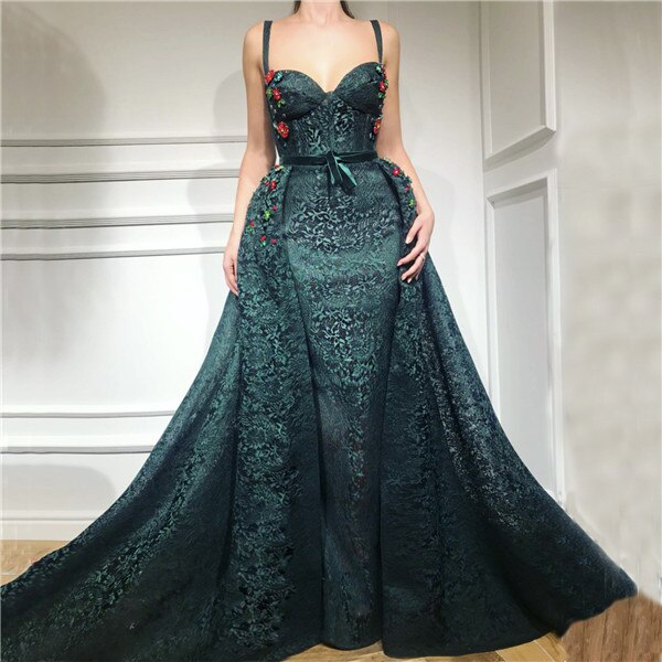 Green Sexy  Evening Dresses   Lace  Fashion Mermaid Evening Gowns 2020