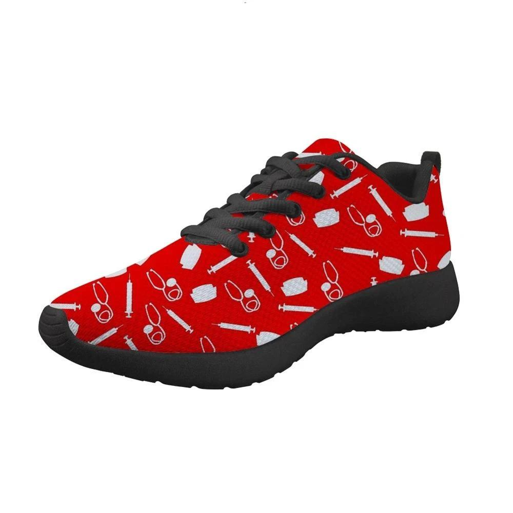 Nurse Machine Print Breathable Sport  Shoes Lightweight Summer Outdoor Travel Comfortable Basketball Women Runing Shoe - LiveTrendsX