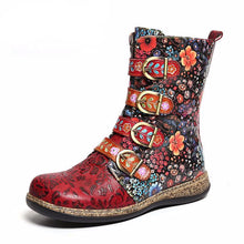 Load image into Gallery viewer, Women Boots Retro Printed Metal Buckle Genuine Leather Zipper Ankle Boots Ladies Shoes Women Botines Mujer 2020 - LiveTrendsX