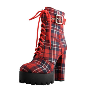Women's Platform Ankle Boots Buckle Strap Chunky Heel Red Plaid Lace Up Side  Zipper Round Toe Booties For Winter
