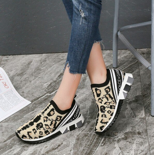 Autumn Platform Flat Sneakers Shoes Women Fashion Round Toe Mesh Running Shoes Woman Low-heeled Leopard Casual Shoes Size 35-43 - LiveTrendsX