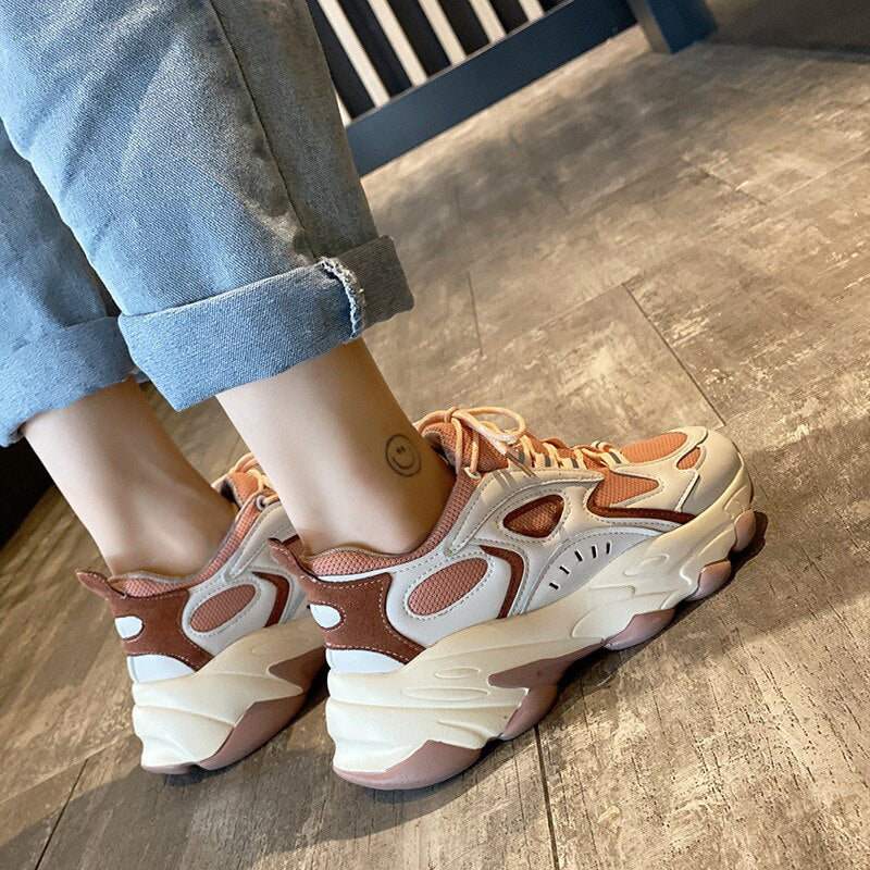 Sneakers Women 2020 New Stylish Woman Running Shoes Increasing 5CM INS High Heel Height Platform Breathable Sports Walking Girls - LiveTrendsX