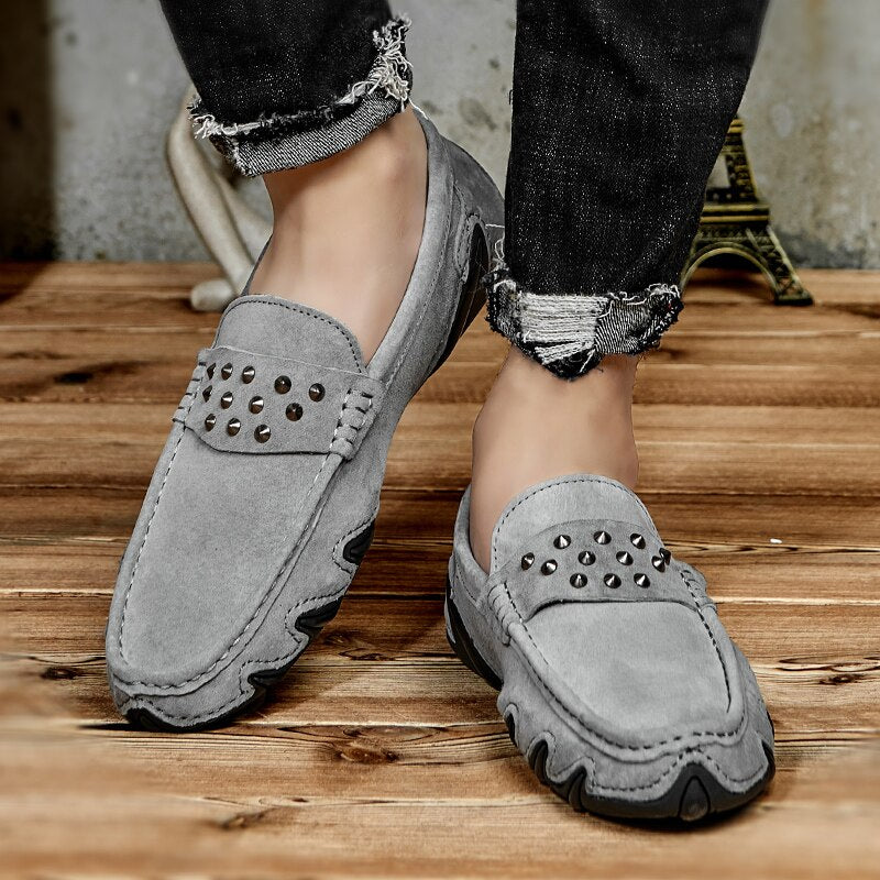 Grey Suede Men Loafers Casual Shoes Rivet Flat Low Top Outdoor Sneakers Chaussures HommesSoft Casual Boat Breathable Designer - LiveTrendsX