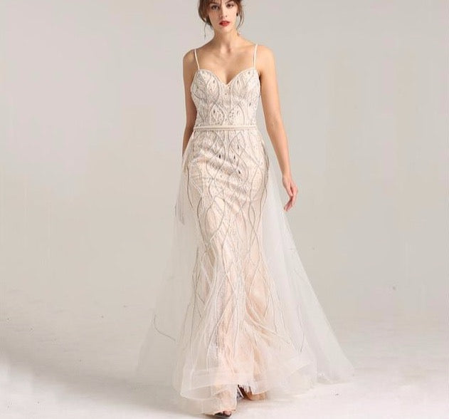 Dubai Luxury Pearls Crystal Evening Dresses Long 2020 White Nude Backless Mermaid Evening Gowns - LiveTrendsX