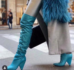 Thigh High Boots Women Chunky Heels Sexy Blue Genuine Leather Over-the-knee Pleated Long Boots - LiveTrendsX
