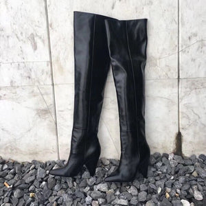 Thigh High Boots Women Chunky Heels Sexy Blue Genuine Leather Over-the-knee Pleated Long Boots