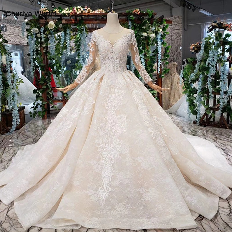luxury popular Wedding Dress with detachable train o neck long bridal dress gown free shipping vestido de noiva princesa - LiveTrendsX