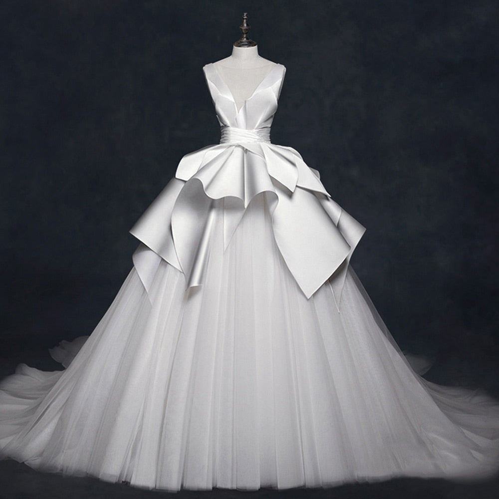 Robe De Mariee New Arrive Sexy Backless Pleat Satin Tulle Gorgeous A-line Bridal Wedding Dresses China Robe Mariage - LiveTrendsX