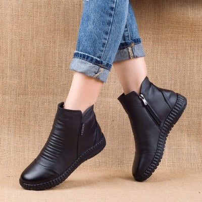 New 2020 Autumn Fashion Women Genuine Leather Boots Handmade Vintage Flat Ankle Botines Shoes Woman Winter botas - LiveTrendsX