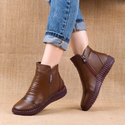 New 2020 Autumn Fashion Women Genuine Leather Boots Handmade Vintage Flat Ankle Botines Shoes Woman Winter botas
