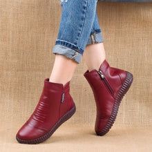 Load image into Gallery viewer, New 2020 Autumn Fashion Women Genuine Leather Boots Handmade Vintage Flat Ankle Botines Shoes Woman Winter botas - LiveTrendsX