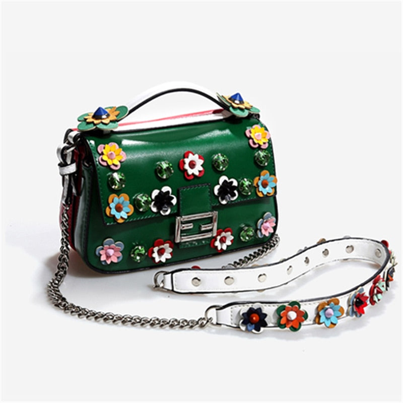 Women Shoulder Bags Flowers Patchwork Totes Red Mini Diamond Bags  New Luxury Messenger Bags Crystal Bags Girls Small Purse - LiveTrendsX