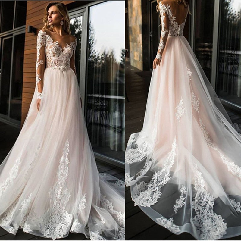 vestido de novia White Ivory Tulle Wedding Dress Open Back A Line Bride Wedding Gowns Long Sleeves Lace Applique Bridal Dresses - LiveTrendsX