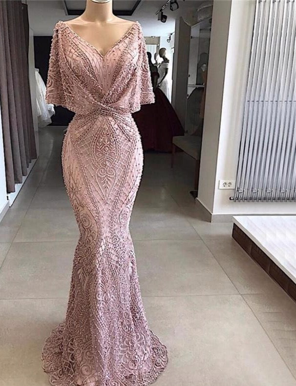 Dubai Pink V-Neck Pearls Lace Evening Gowns 2020 Half Sleeves Mermaid Sexy Elegant  Formal Evening Dresses