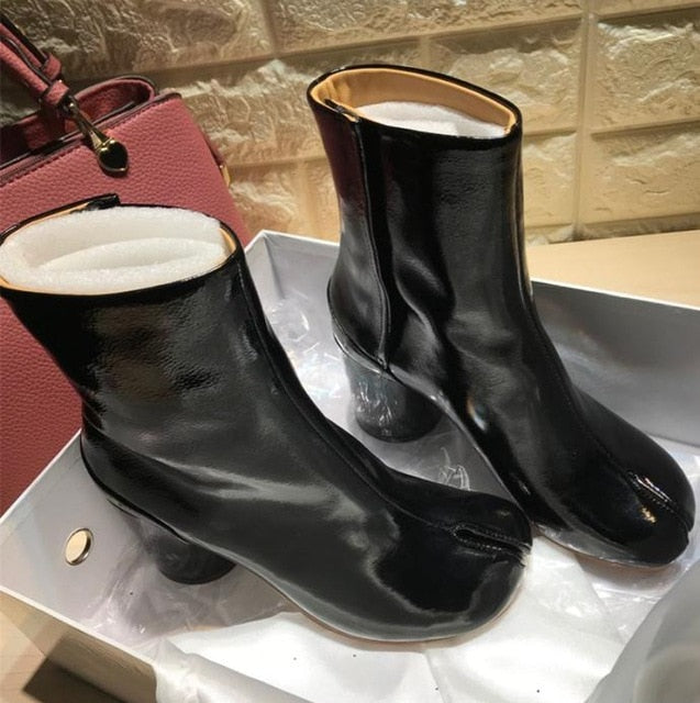 Winter Tabi Boots Women High Heels Botas Mujer Leather Ankle Boots For Women Cozy Shining Botas Feminina Luxury Zapatos De Mujer - LiveTrendsX