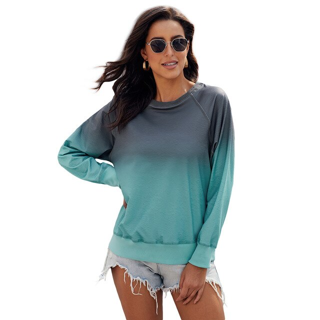 Women's New European and American Gradual Change Pullover Round Neck Long Sleeve Casual Loose Sweatshirt In Spring and Autumn - LiveTrendsX