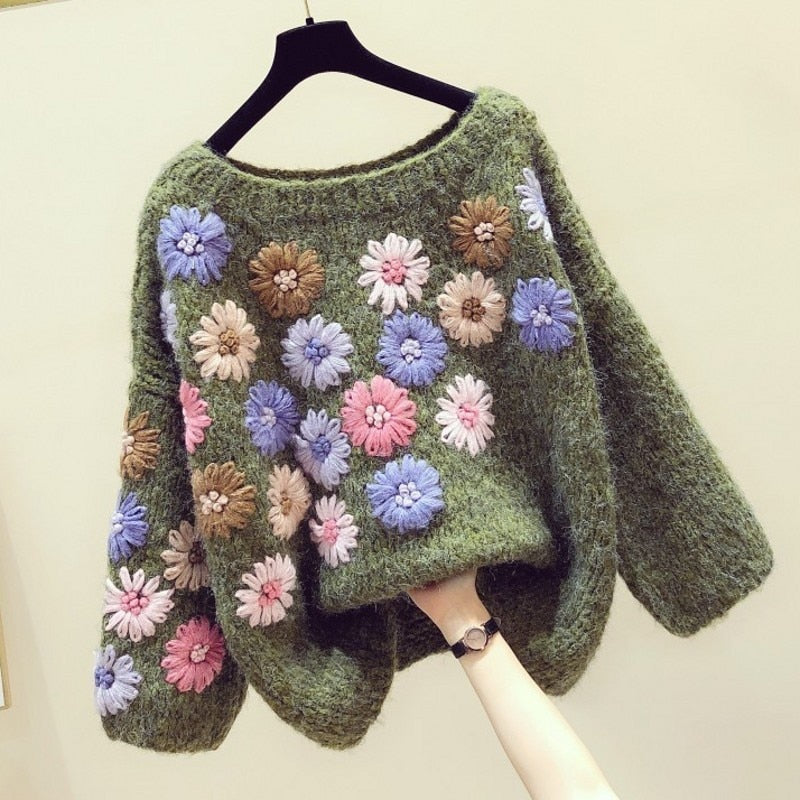 Sweater Women's 2020 Spring Winter Retro Handmade Three-dimensional Flower Lazy Wind Sweater Loose-Fit Sweaters Ladies Jumper - LiveTrendsX