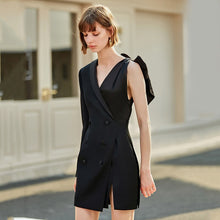 Load image into Gallery viewer, Women Black Bandage Vent Bow Split Joint Dress New Lapel Long Sleeve Loose Fit Fashion Tide Spring Autumn 2020 - LiveTrendsX