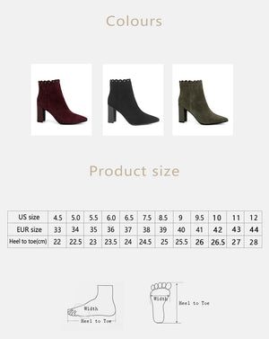 Hot Rivets Decorated Fashion Classic Kid Suede Ankle Boots Sexy Pointed Toe High Heel Women Shoes Zip Winter Boots - LiveTrendsX